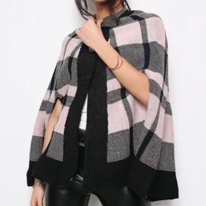 NWT Black and Light Pink Poncho Sweater